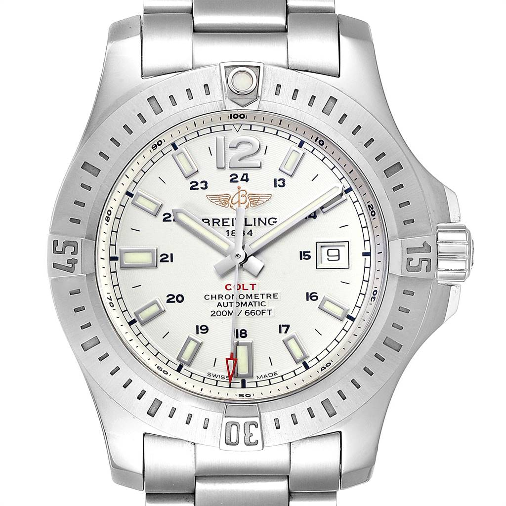 Photo of Breitling Colt White Dial Automatic Steel Mens Watch A17388 Box Card