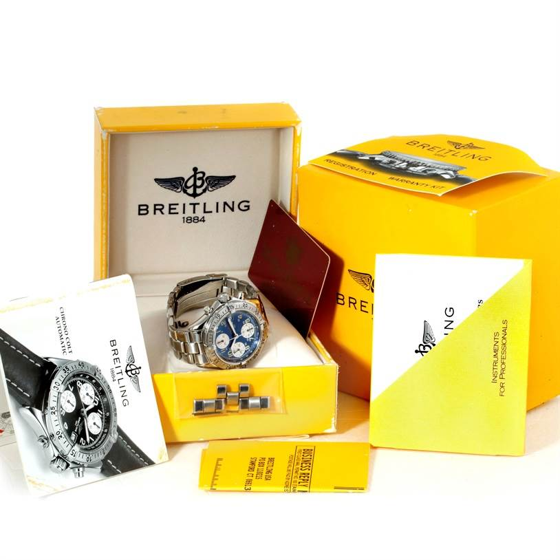 Breitling Colt Automatic Stainless Steel Blue Dial Mens Watch A13035 SwissWatchExpo