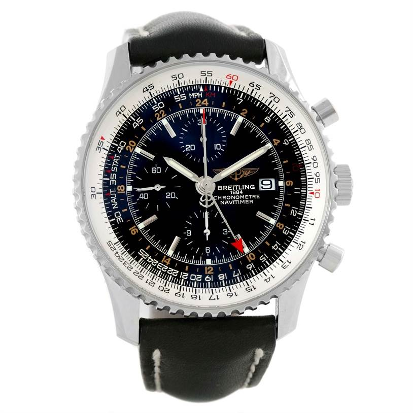 Breitling Navitimer World Chronograph Black Dial Watch A24322 Unworn SwissWatchExpo