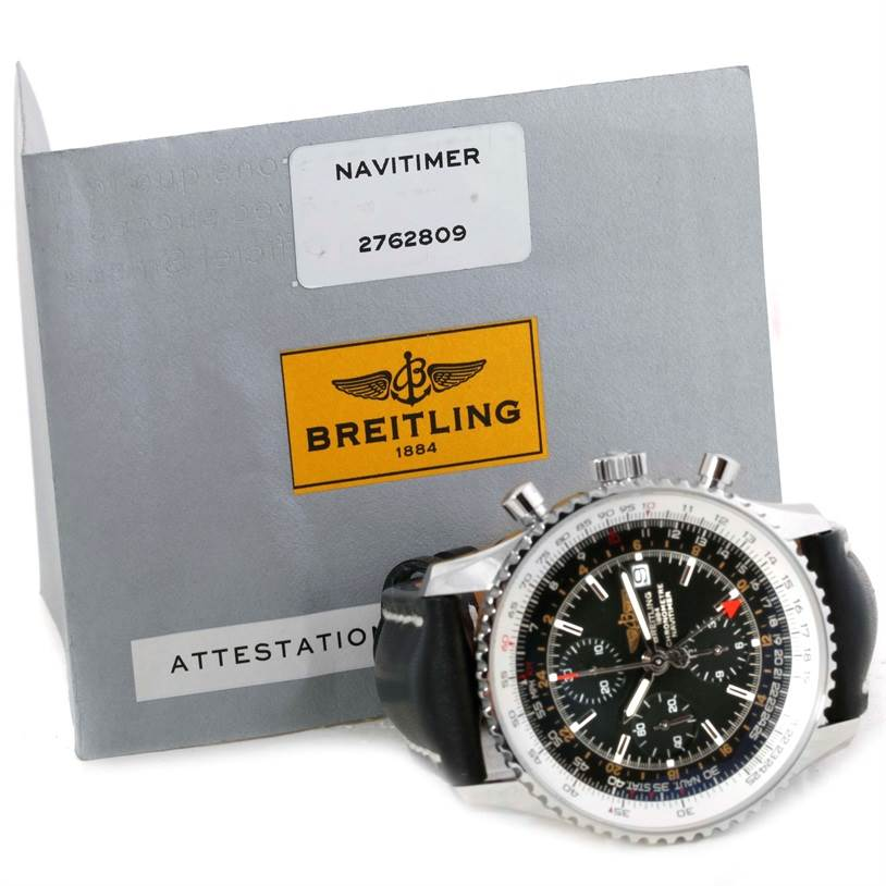 9932 Breitling Navitimer World Chronograph Black Dial Watch A24322 Unworn SwissWatchExpo