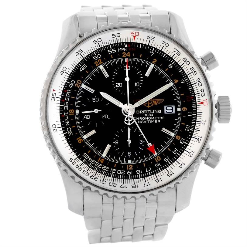 10086 Breitling Navitimer World GMT Chronograph Black Dial Watch A24322 SwissWatchExpo