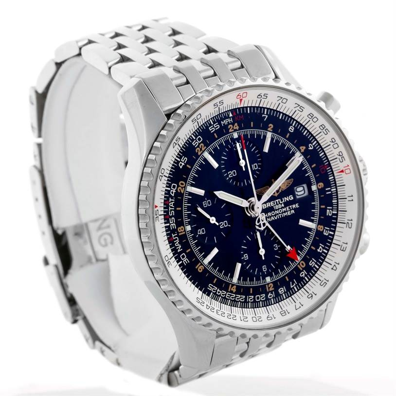 Breitling Navitimer World GMT Chronograph Black Dial Watch A24322 SwissWatchExpo