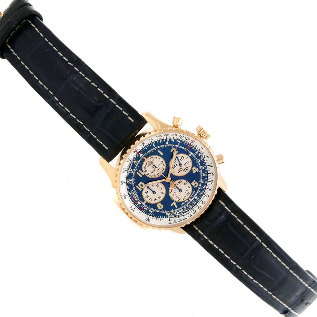 10217 Breitling Navitimer Airborne 18K Yellow Gold Blue Dial Watch K33030 SwissWatchExpo