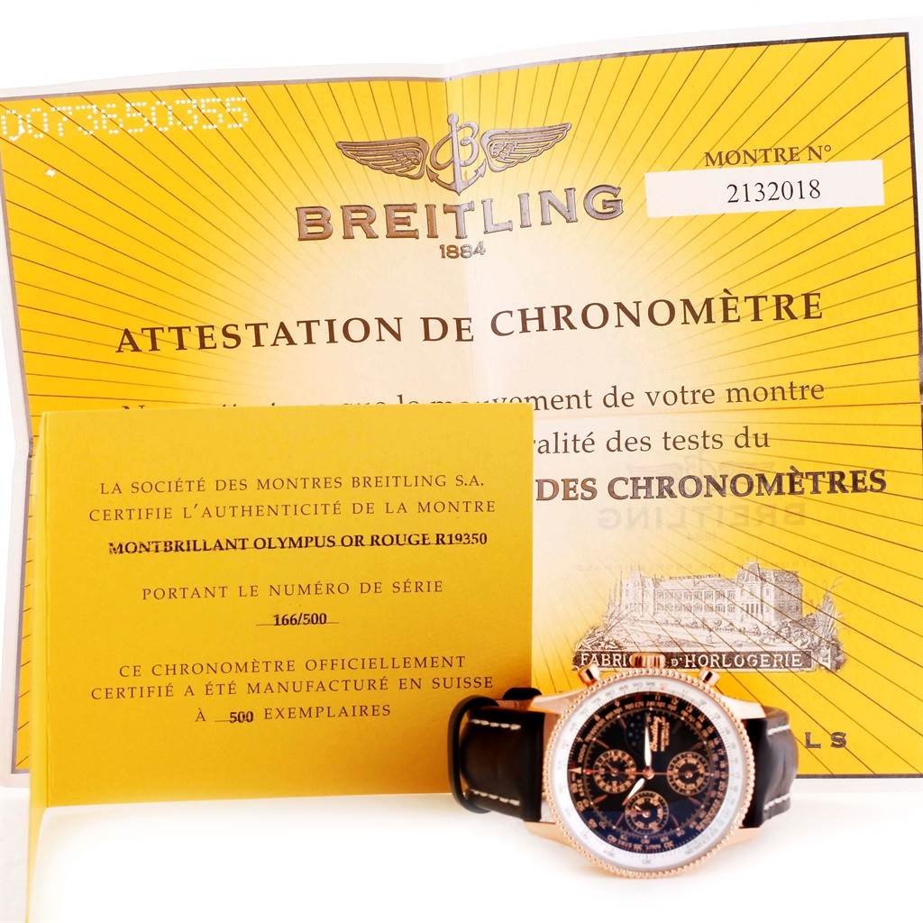 Breitling Montbrillant Olympus Rose Gold Limited Edition Mens Watch R19350 SwissWatchExpo