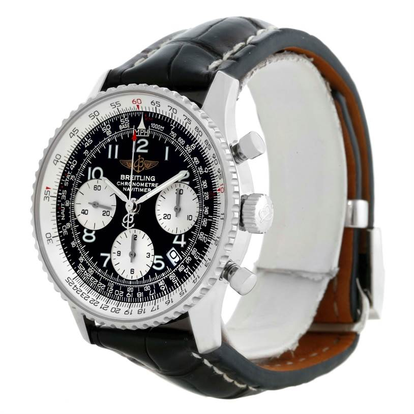 10219 Breitling Navitimer Automatic Chronograph Black Dial Watch A23322 SwissWatchExpo
