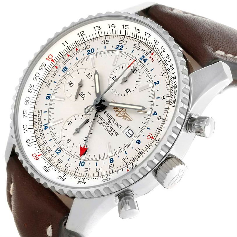 Breitling Navitimer World Chronograph GMT Brown Strap Steel Watch A24322 SwissWatchExpo