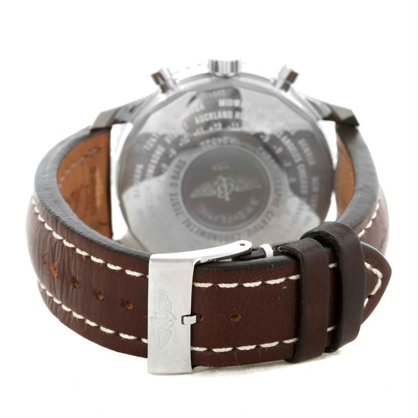 10220 Breitling Navitimer World Chronograph GMT Brown Strap Steel Watch A24322 SwissWatchExpo