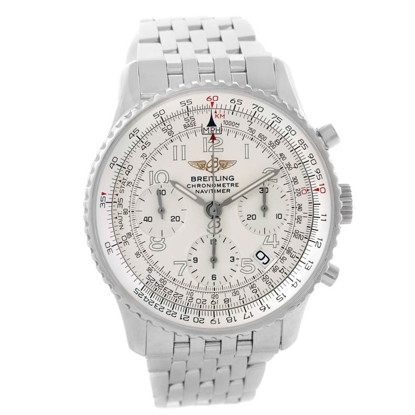 10346 Breitling Navitimer Chronograph Silver Dial Steel Watch A23322 SwissWatchExpo