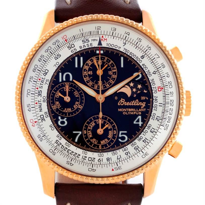 10616 Breitling Navitimer Montbrillant Olympus Rose Gold Mens Watch H19350 SwissWatchExpo