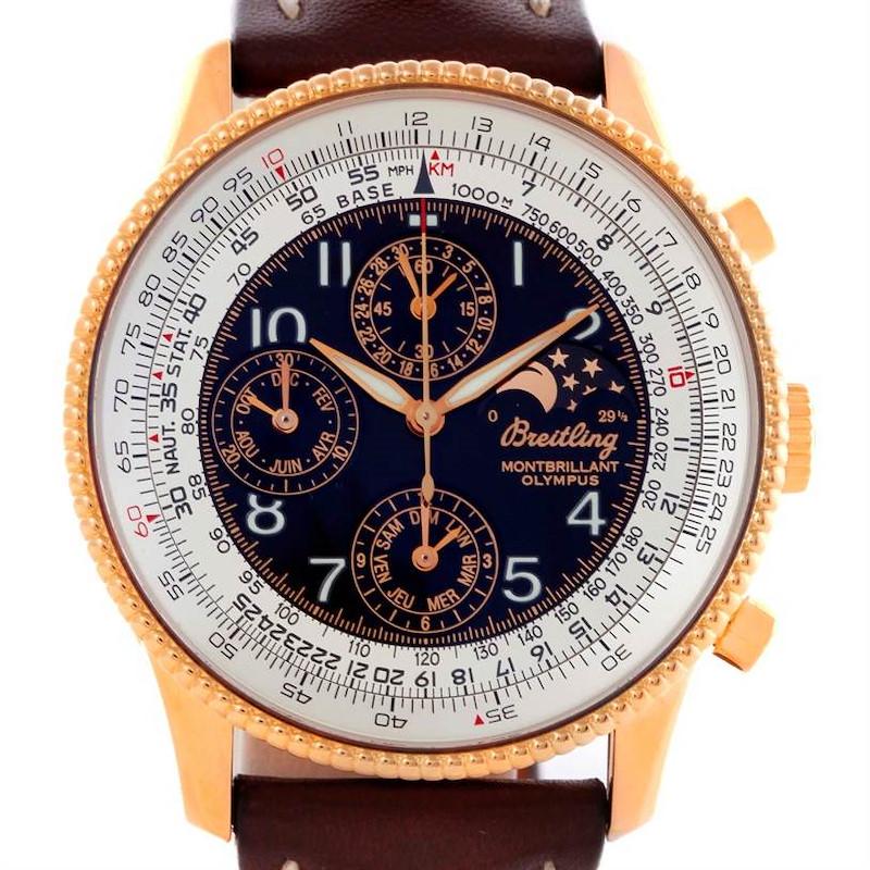 Breitling Navitimer Montbrillant Olympus Rose Gold Mens Watch H19350 SwissWatchExpo