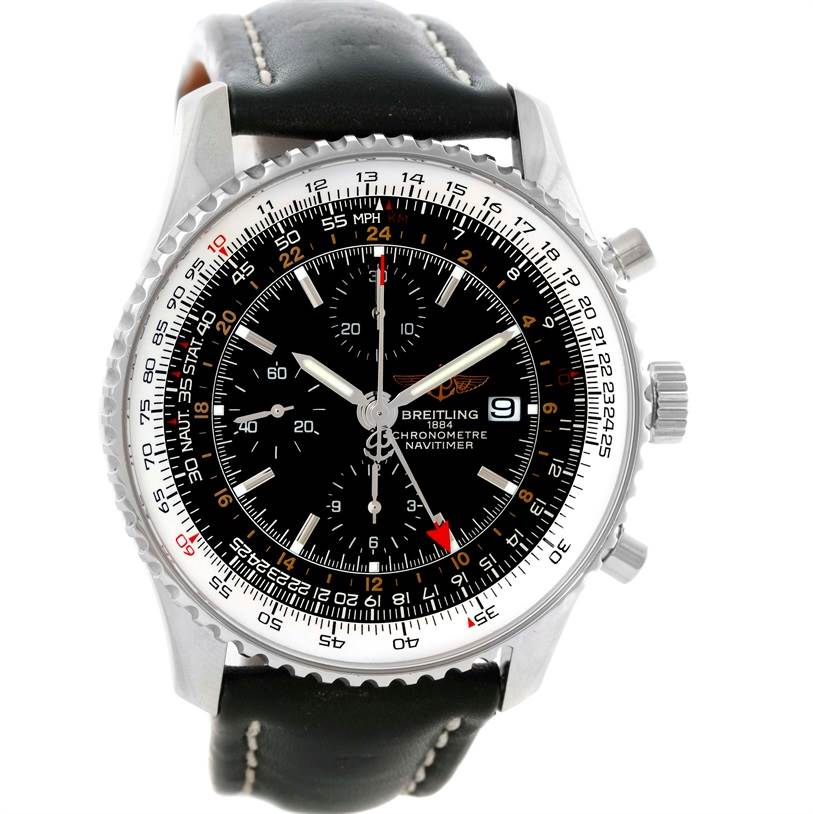 10670 Breitling Navitimer World Chronograph Black Dial Steel Watch A24322 SwissWatchExpo