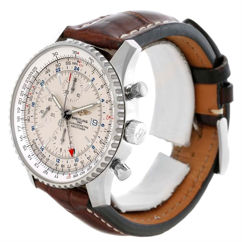 10747 Breitling Navitimer World Chronograph GMT Brown Strap Watch A24322 SwissWatchExpo