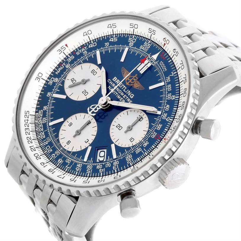 Breitling Navitimer Chronograph Blue Dial Steel Watch A23322 SwissWatchExpo