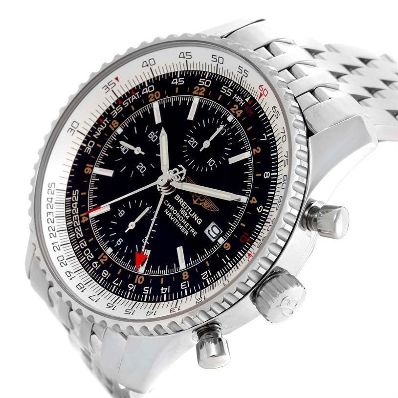 10723 Breitling Navitimer World GMT Chronograph Black Dial Watch A24322 SwissWatchExpo