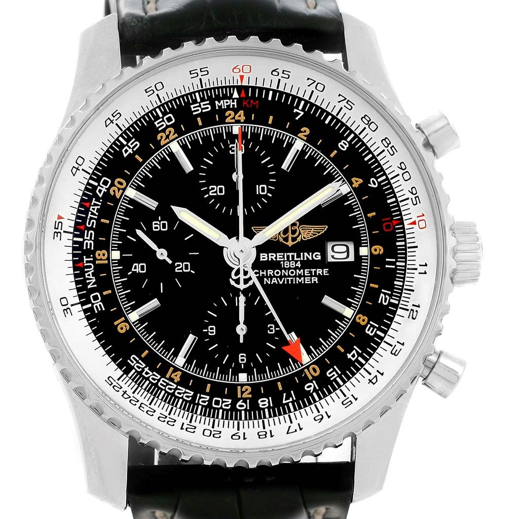 10698 Breitling Navitimer World Chronograph GMT Steel Watch A24322 SwissWatchExpo