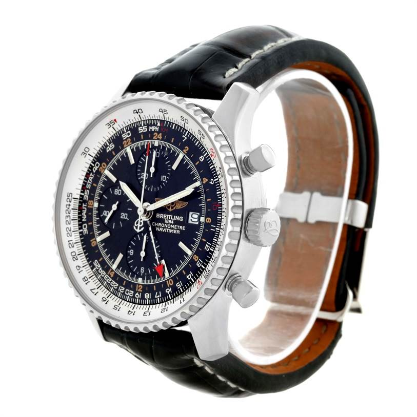11033 Breitling Navitimer World Chrono GMT Steel Watch A24322 Box Papers SwissWatchExpo