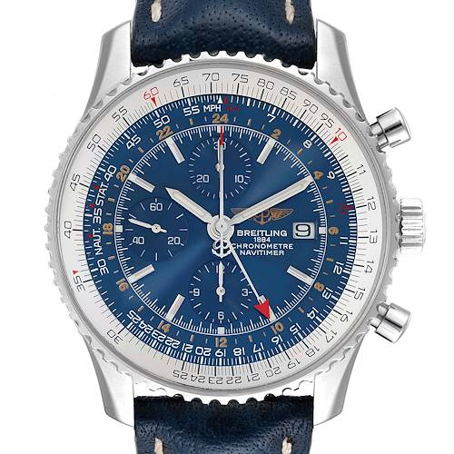 Photo of Breitling Navitimer World Chrono GMT Blue Dial Steel Watch A24322