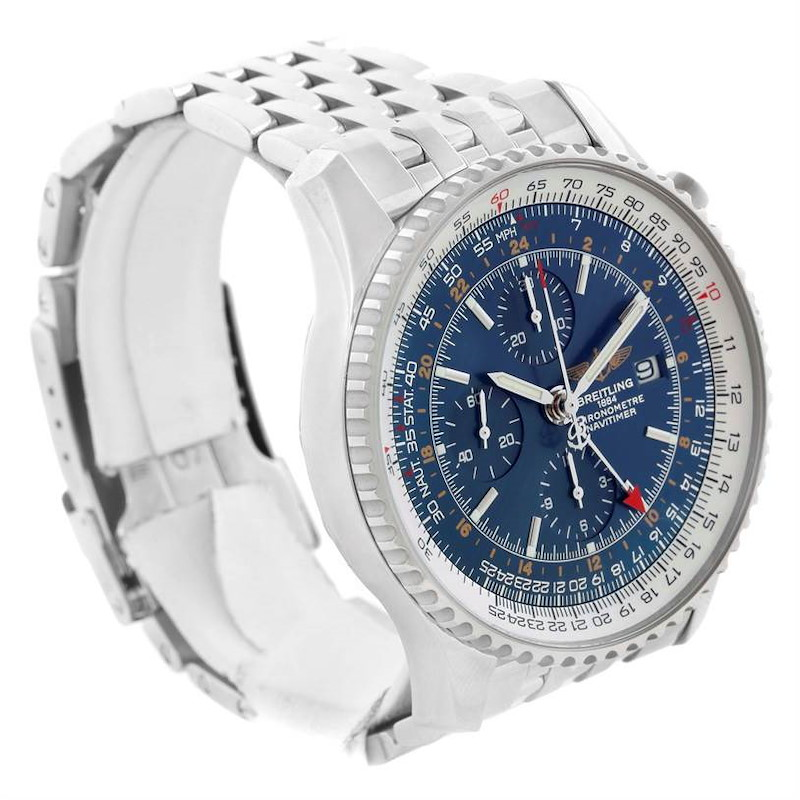 Breitling Navitimer World Chronograph Blue Dial Watch A24322 Papers SwissWatchExpo