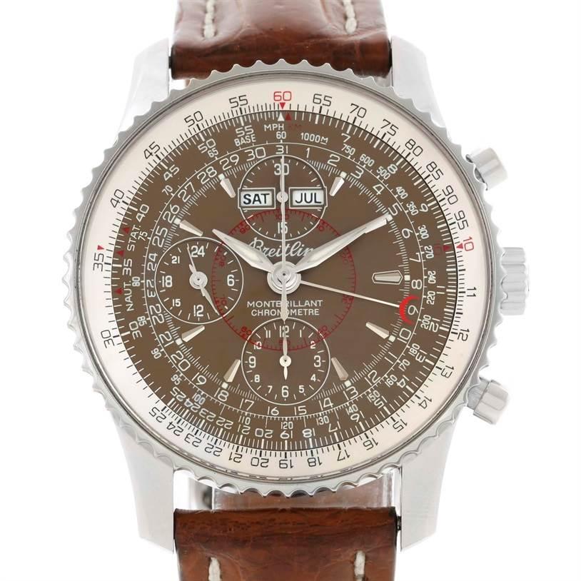 Breitling Navitimer Montbrillant Datora Brown Strap Mens Watch A21330 SwissWatchExpo