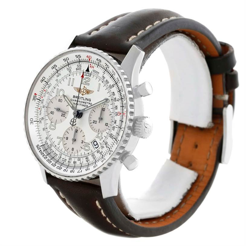 11223 Breitling Navitimer Chronograph Silver Dial Watch A23322 Box Papers SwissWatchExpo