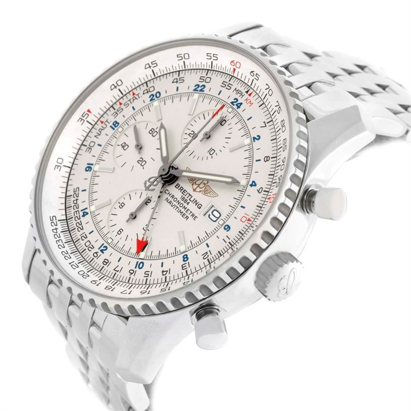 11511 Breitling Navitimer World GMT Silver Dial Watch A24322 Box Papers SwissWatchExpo