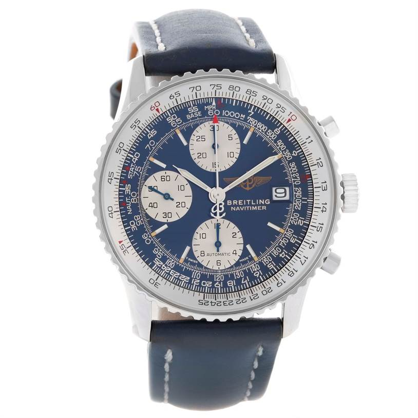 11505 Breitling Navitimer II Blue Dial Automatic Steel Watch A13022 SwissWatchExpo