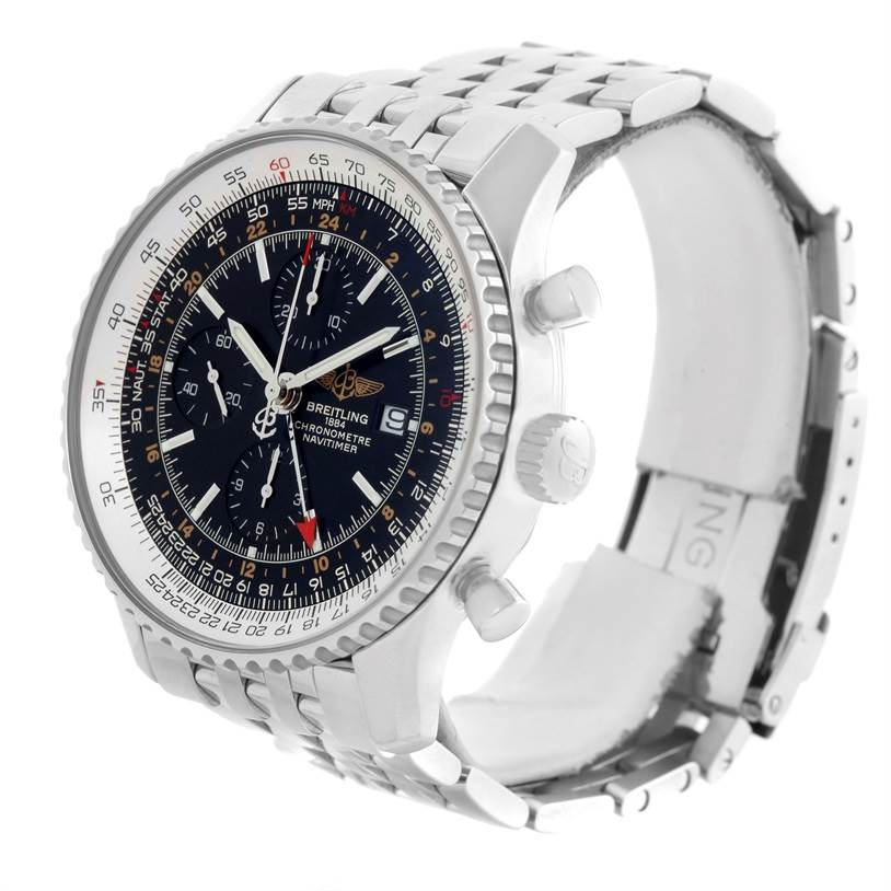 11130 Breitling Navitimer World GMT Black Dial Steel Bracelet Watch A24322 SwissWatchExpo