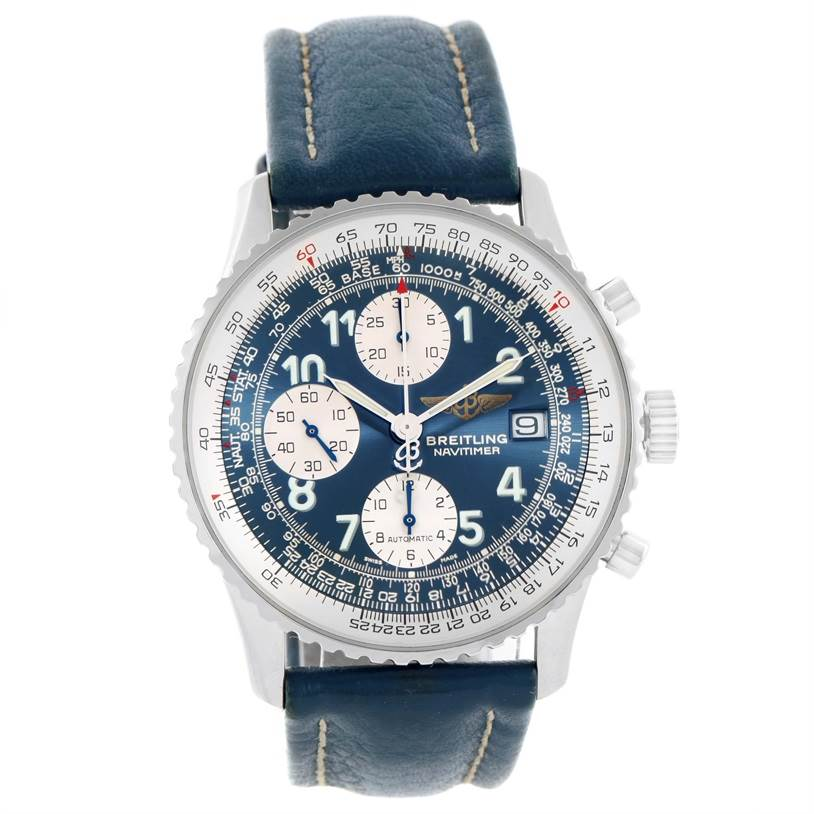 11508 Breitling Navitimer II Automatic Steel Blue Strap Mens Watch A13322 SwissWatchExpo
