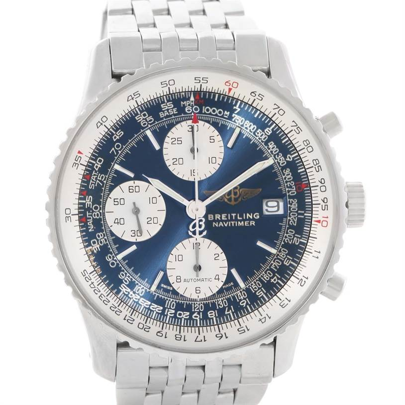 11570 Breitling Navitimer II Stainless Steel Blue Dial Watch A13322 SwissWatchExpo
