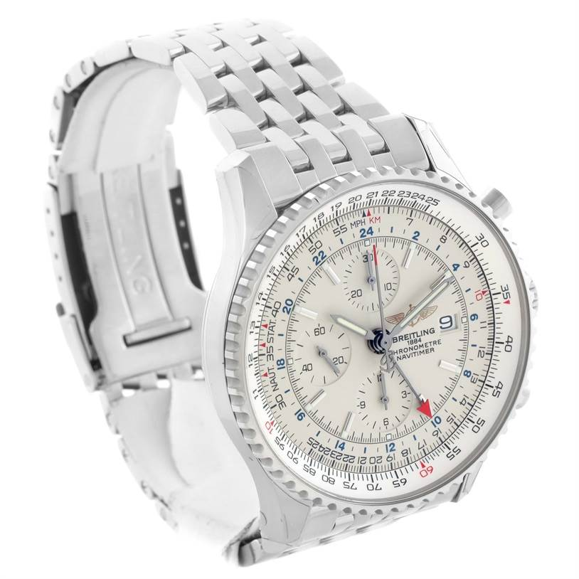 11469 Breitling Navitimer World Silver Dial Steel Watch A24322 Unworn SwissWatchExpo
