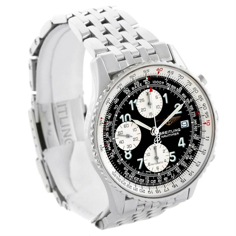 11652 Breitling Navitimer II Stainless Steel Black Dial Watch A13322 SwissWatchExpo