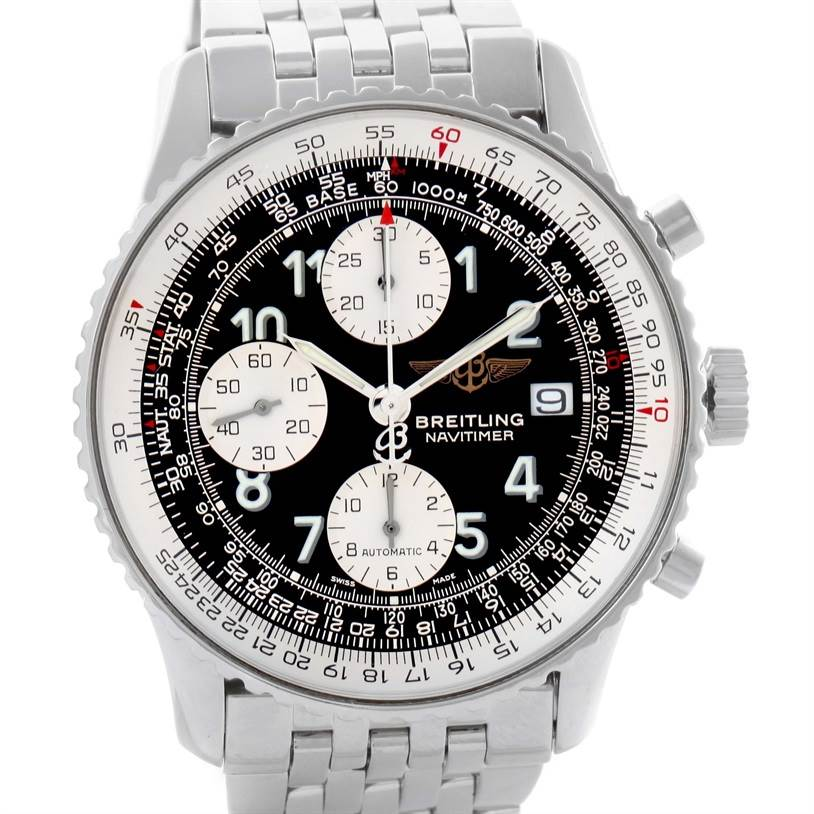 Breitling Navitimer II Stainless Steel Black Dial Watch A13322 SwissWatchExpo