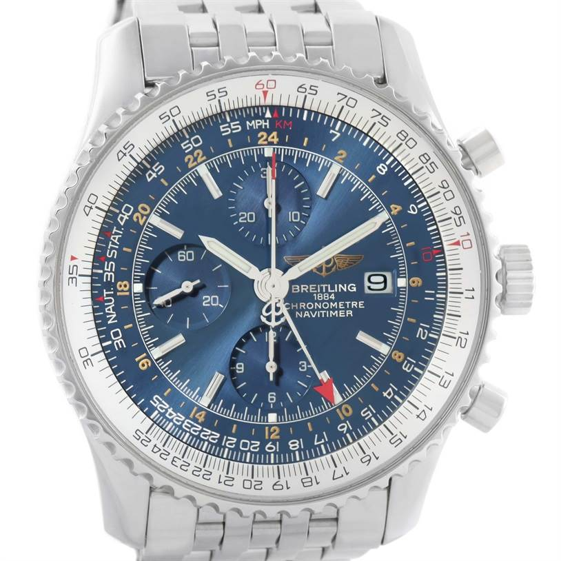 11582 Breitling Navitimer World GMT Chronograph Blue Dial Watch A24322 Box SwissWatchExpo