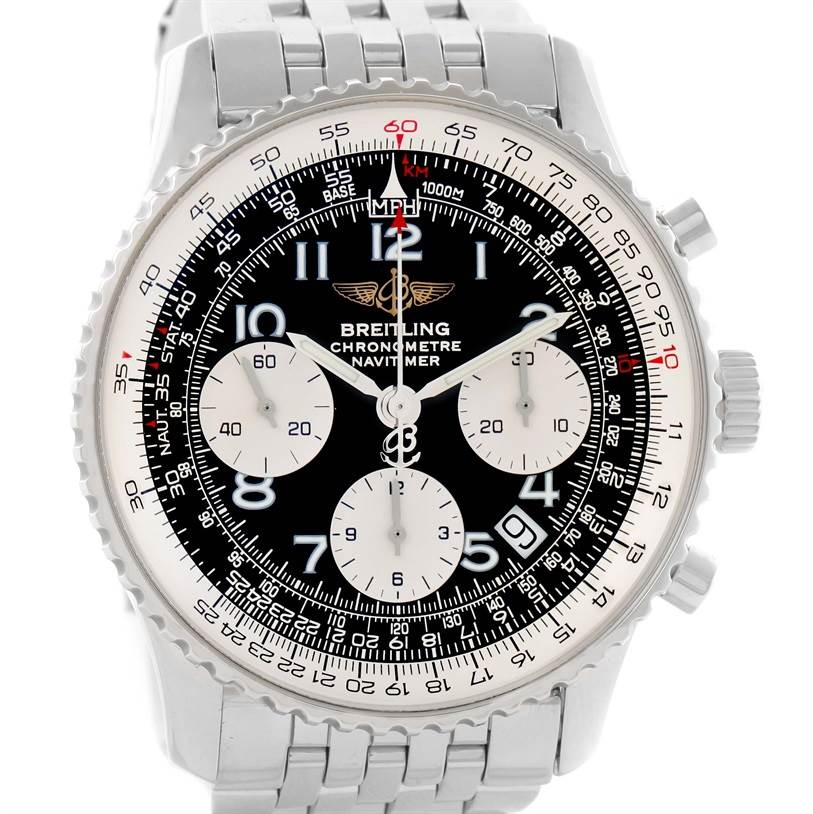 0168d9105b67 ... 11693 Breitling Navitimer Chronograph Black Dial Steel Watch A23322  SwissWatchExpo ...