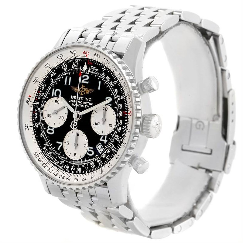 Breitling Navitimer Chronograph Black Dial Steel Watch A23322 SwissWatchExpo