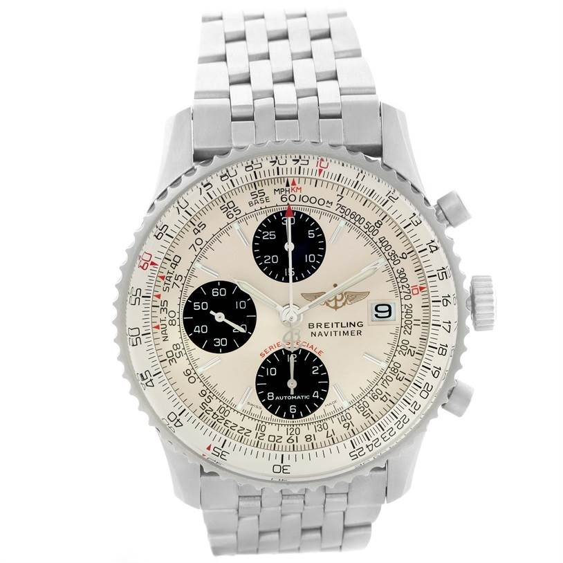 11697 Breitling Navitimer Fighter Chronograph Stainless Steel Watch A13330 SwissWatchExpo