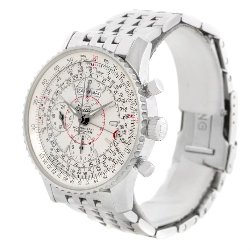 11687 Breitling Navitimer Montbrillant Datora Silver Dial Watch A21330 SwissWatchExpo