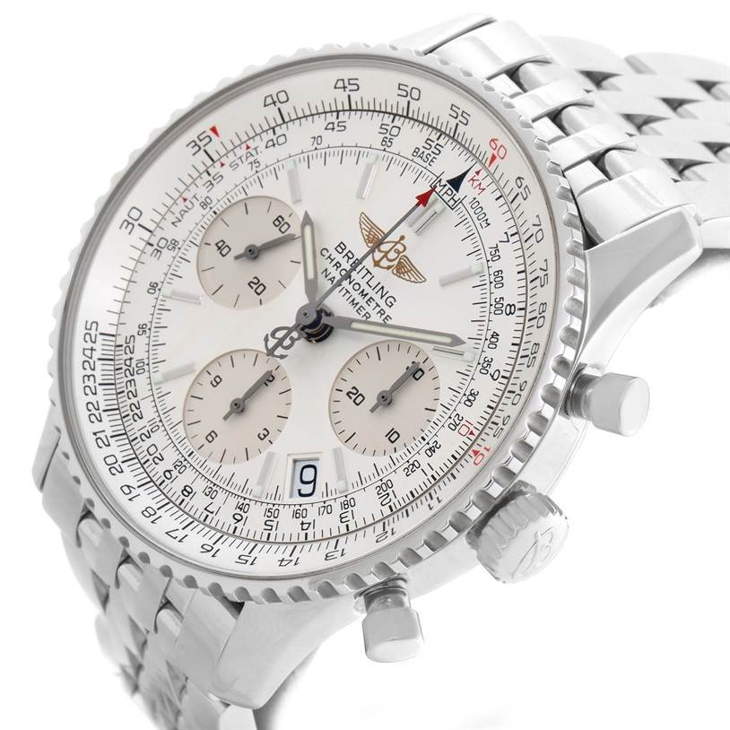 11689 Breitling Navitimer Chronograph Silver Dial Steel Watch A23322 SwissWatchExpo