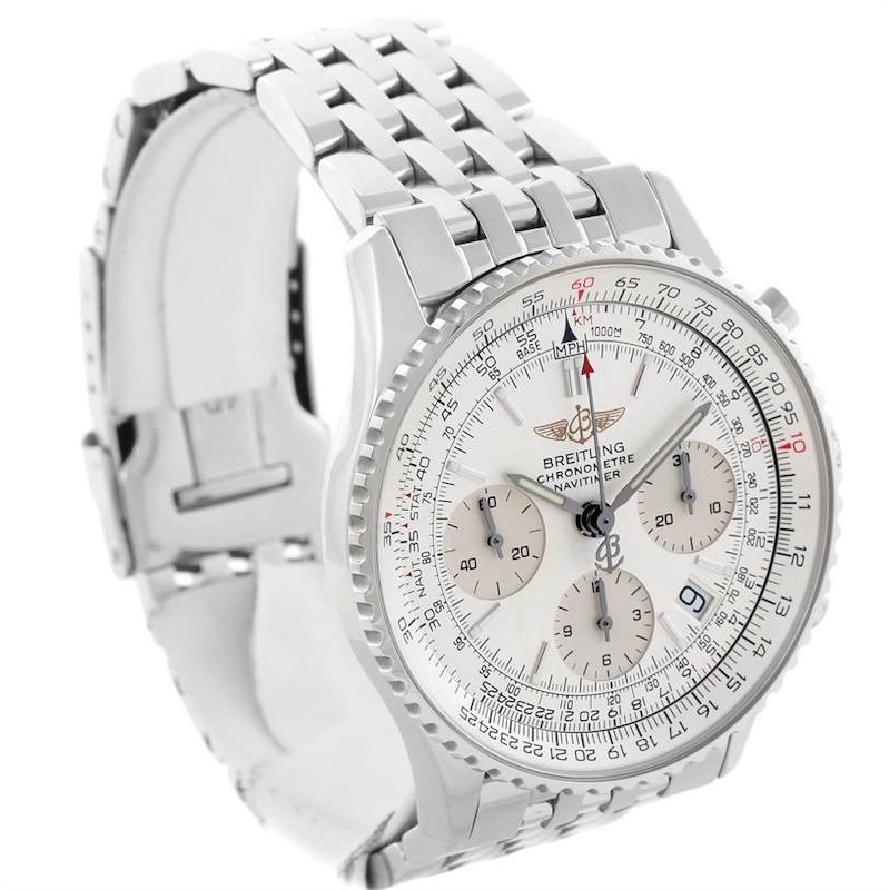Breitling Navitimer Chronograph Silver Dial Steel Watch A23322 SwissWatchExpo