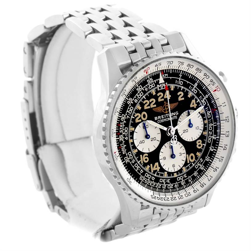 11684 Breitling Navitimer Cosmonaute Black Dial Chronograph Watch A12022 SwissWatchExpo