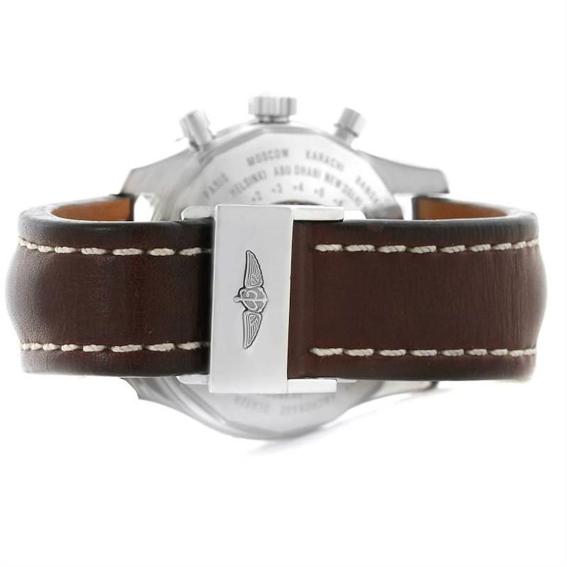 Breitling Navitimer World Chrono GMT Steel Brown Strap Watch A24322 SwissWatchExpo