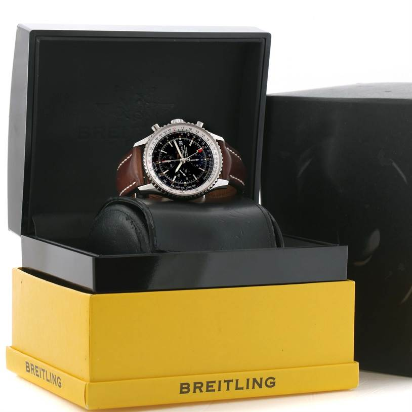 11727	  Breitling Navitimer World Chrono GMT Steel Brown Strap Watch A24322 SwissWatchExpo