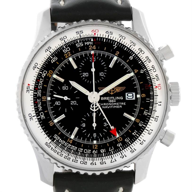 11078 Breitling Navitimer World Chrono GMT Steel Black Strap Watch A24322 SwissWatchExpo