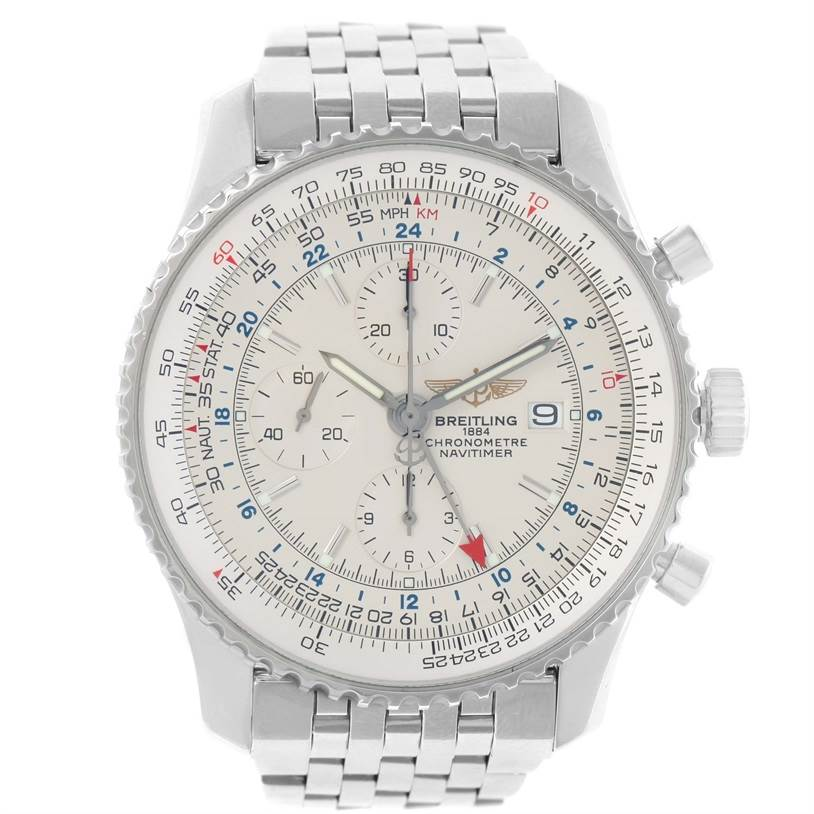 11688 Breitling Navitimer World Silver Dial Steel Automatic Watch A24322 SwissWatchExpo