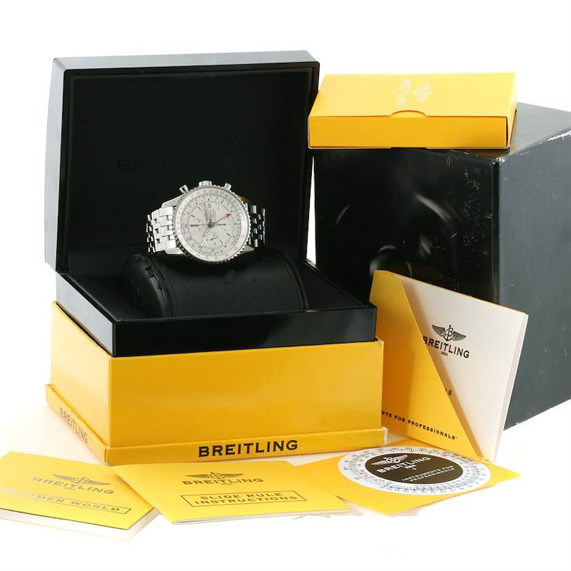 Breitling Navitimer World Silver Dial Steel Automatic Watch A24322 SwissWatchExpo
