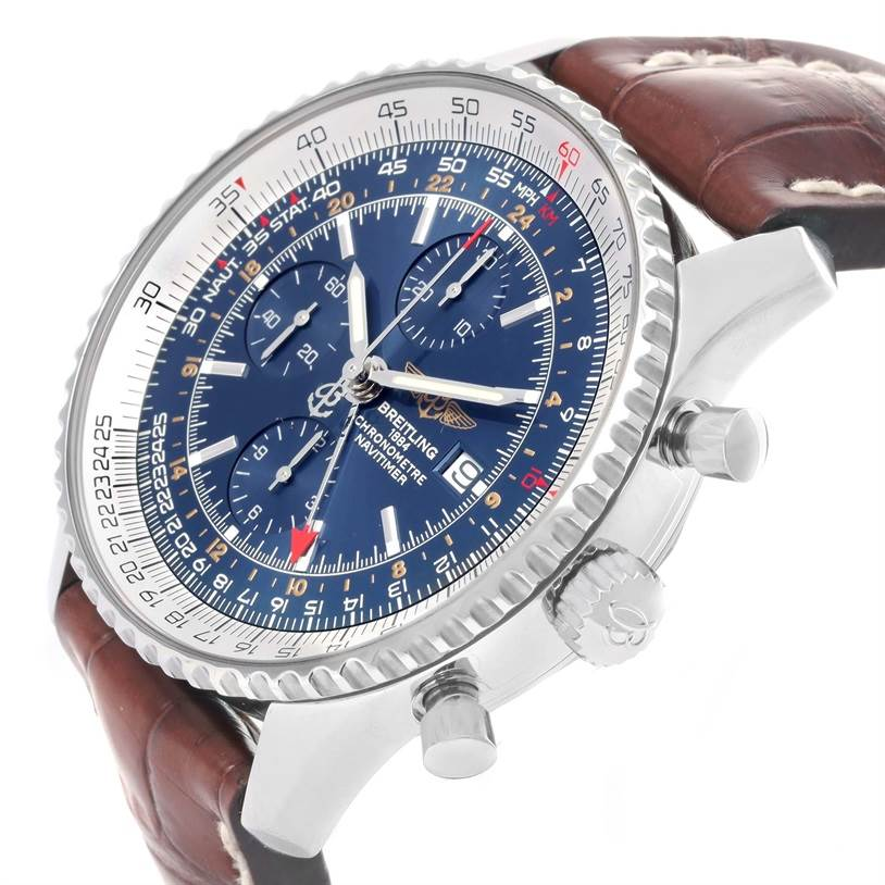 Breitling Navitimer World GMT Steel Blue Dial Brown Strap Watch A24322 SwissWatchExpo