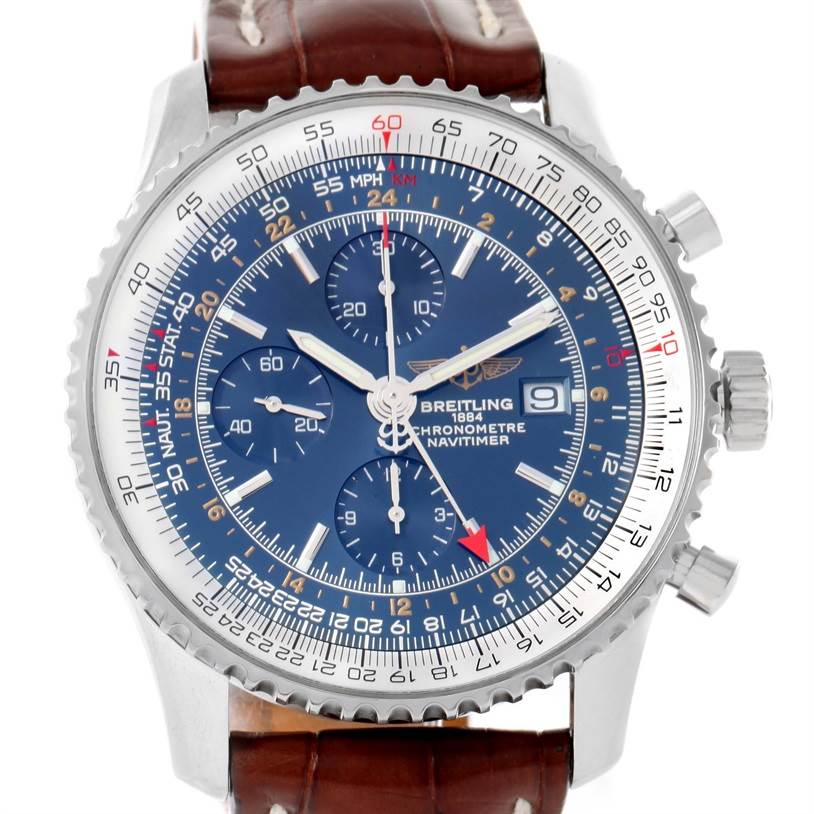 11994 Breitling Navitimer World GMT Steel Blue Dial Brown Strap Watch A24322 SwissWatchExpo