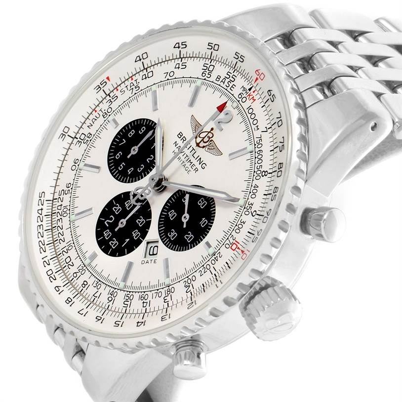 12156 Breitling Navitimer Heritage Silver Dial Automatic Mens Watch A35340 SwissWatchExpo