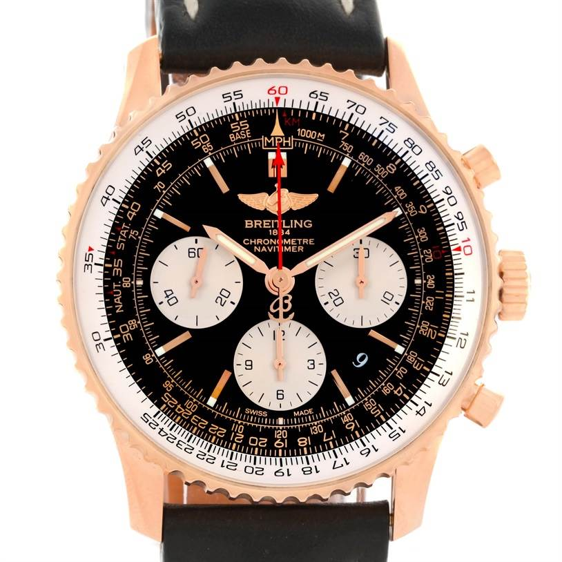12331 Breitling Navitimer 01 18K Rose Gold Black Dial Watch RB0120 SwissWatchExpo
