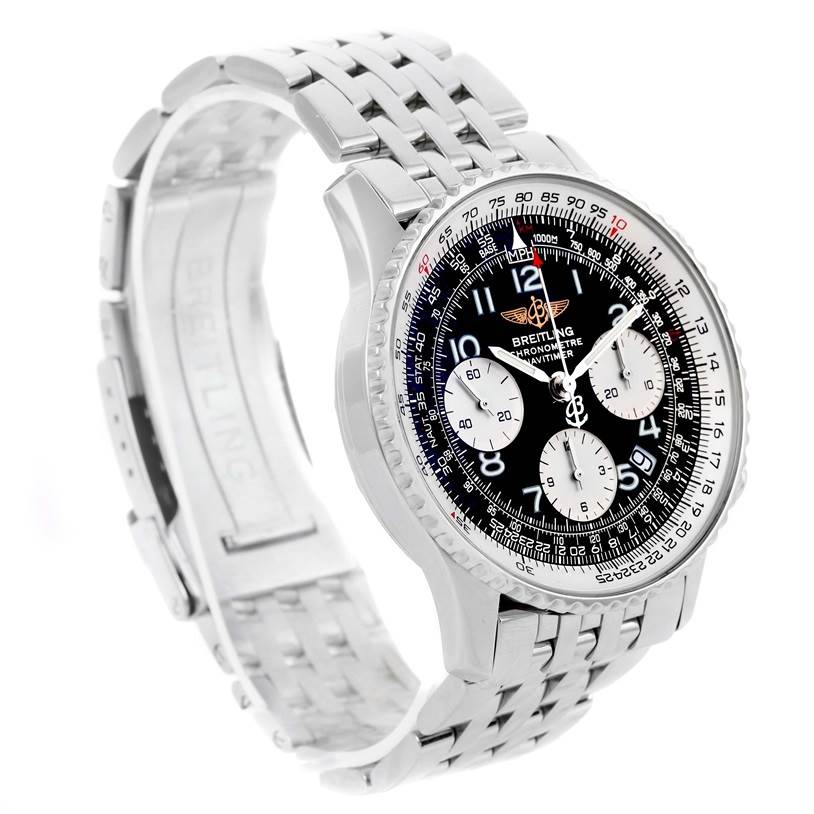 12494 Breitling Navitimer Chronograph Black Dial Steel Mens Watch A23322 SwissWatchExpo